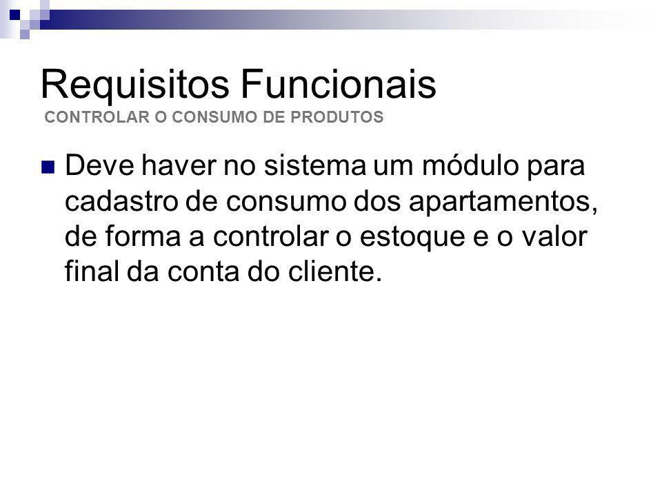 Requisitos Funcionais Deve haver no sistema um módulo para cadastro de consumo dos apartamentos, de forma a controlar o estoque e o valor final da con