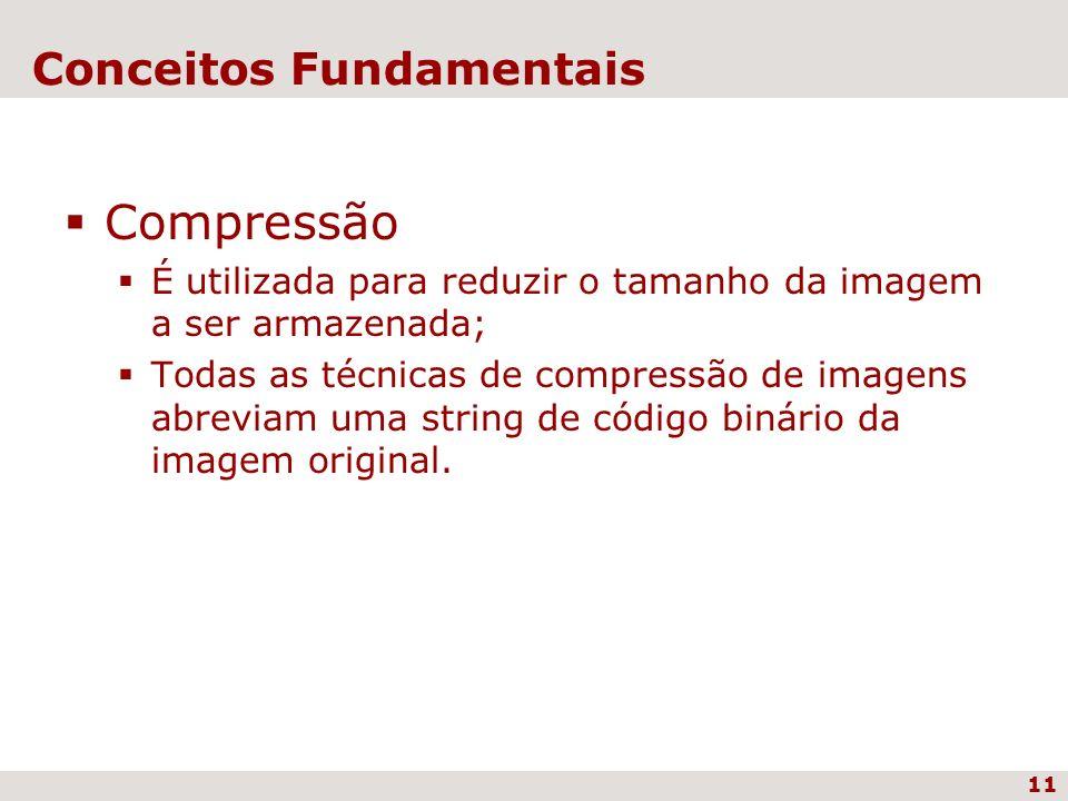11 Conceitos Fundamentais Compressão É utilizada para reduzir o tamanho da imagem a ser armazenada; Todas as técnicas de compressão de imagens abrevia