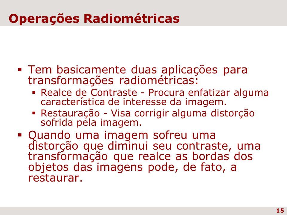 15 Operações Radiométricas Tem basicamente duas aplicações para transformações radiométricas: Realce de Contraste - Procura enfatizar alguma caracterí