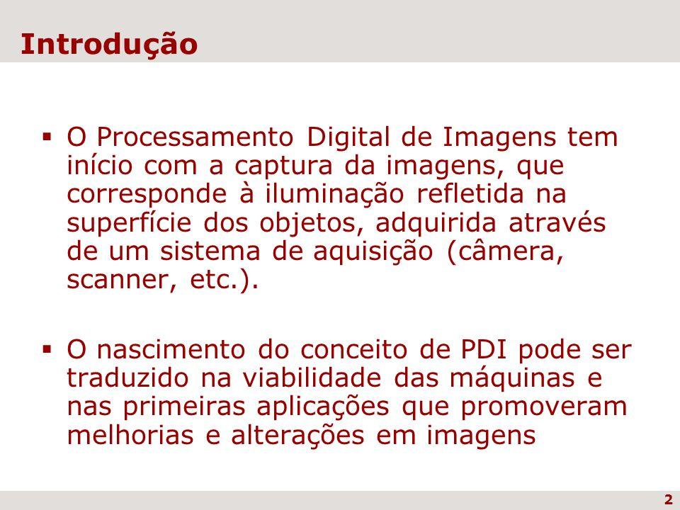 2 Introdução O Processamento Digital de Imagens tem início com a captura da imagens, que corresponde à iluminação refletida na superfície dos objetos,