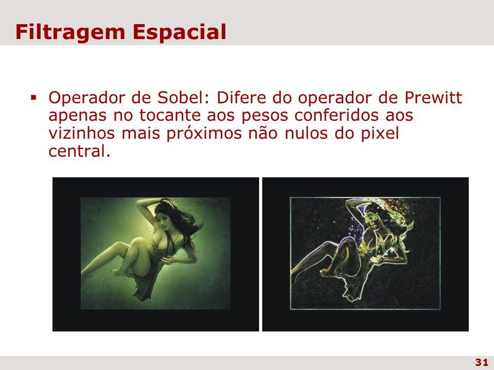 31 Filtragem Espacial Operador de Sobel: Difere do operador de Prewitt apenas no tocante aos pesos conferidos aos vizinhos mais próximos não nulos do
