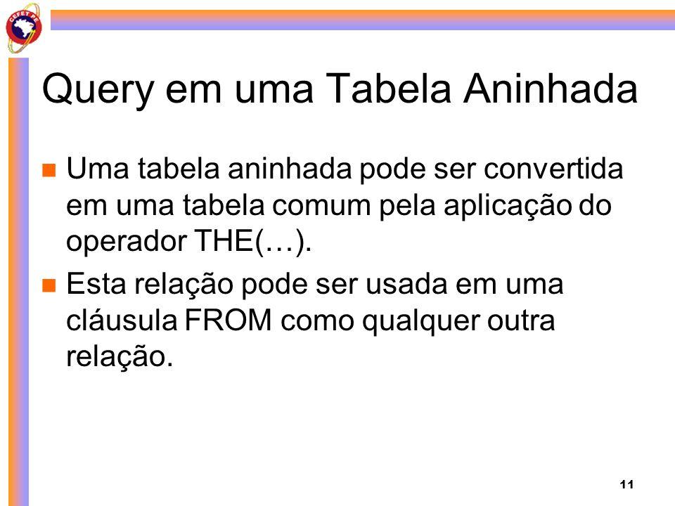 11 Query em uma Tabela Aninhada Uma tabela aninhada pode ser convertida em uma tabela comum pela aplicação do operador THE(…). Esta relação pode ser u