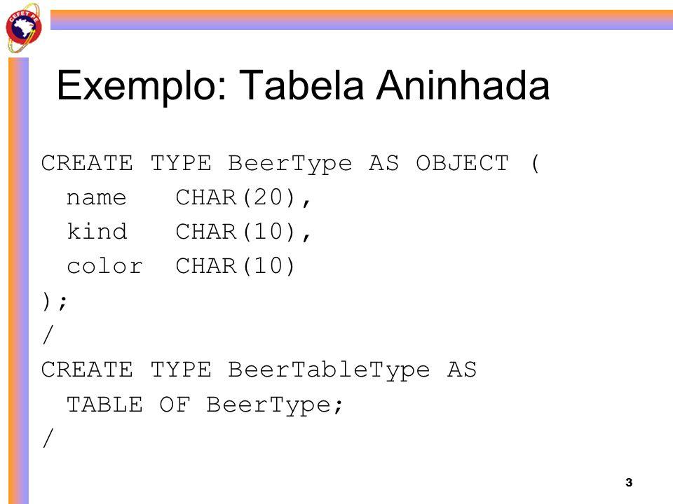 3 Exemplo: Tabela Aninhada CREATE TYPE BeerType AS OBJECT ( nameCHAR(20), kindCHAR(10), colorCHAR(10) ); / CREATE TYPE BeerTableType AS TABLE OF BeerT