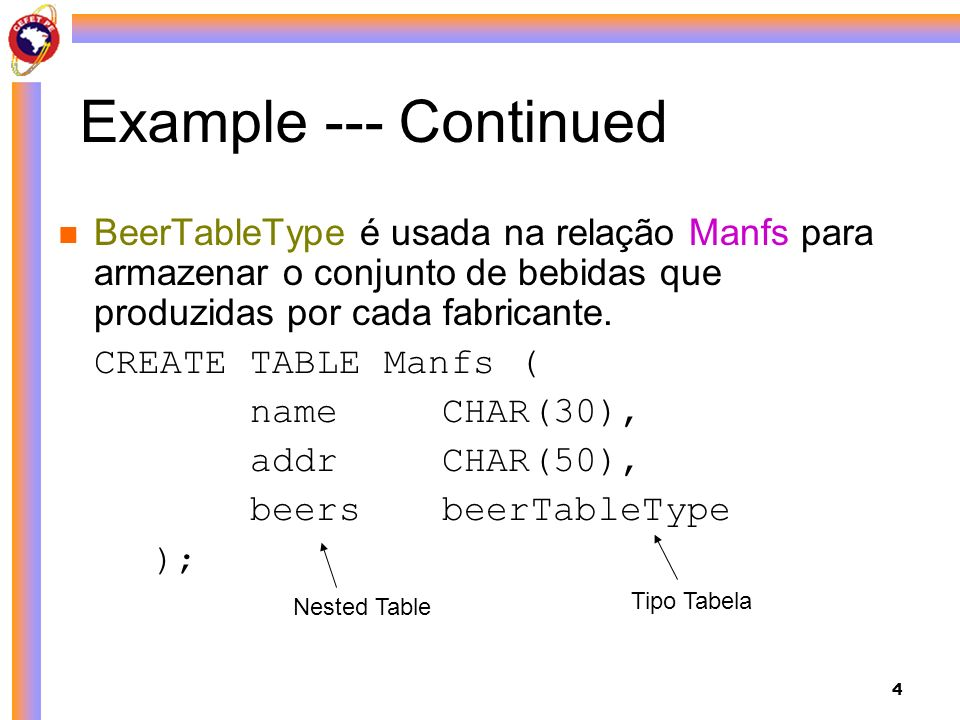 4 Example --- Continued BeerTableType é usada na relação Manfs para armazenar o conjunto de bebidas que produzidas por cada fabricante. CREATE TABLE M