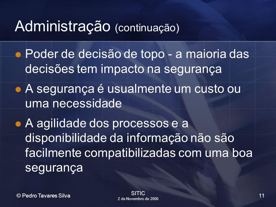11 © Pedro Tavares Silva SITIC 2 de Novembro de 2006 Administração (continuação) Poder de decisão de topo - a maioria das decisões tem impacto na segu