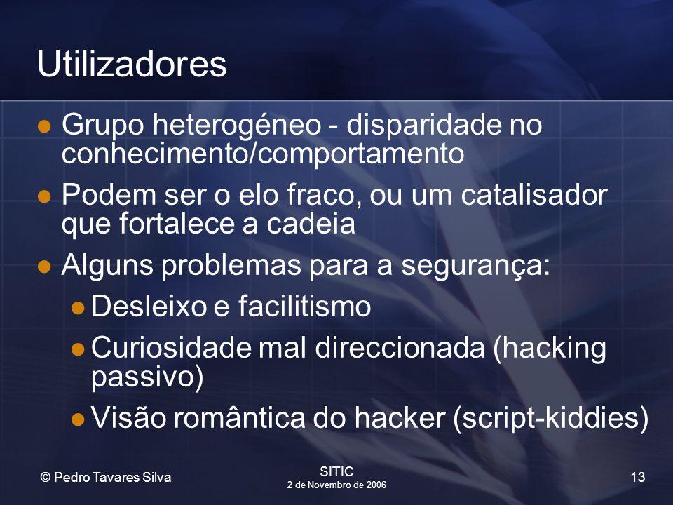 13 © Pedro Tavares Silva SITIC 2 de Novembro de 2006 Utilizadores Grupo heterogéneo - disparidade no conhecimento/comportamento Podem ser o elo fraco,