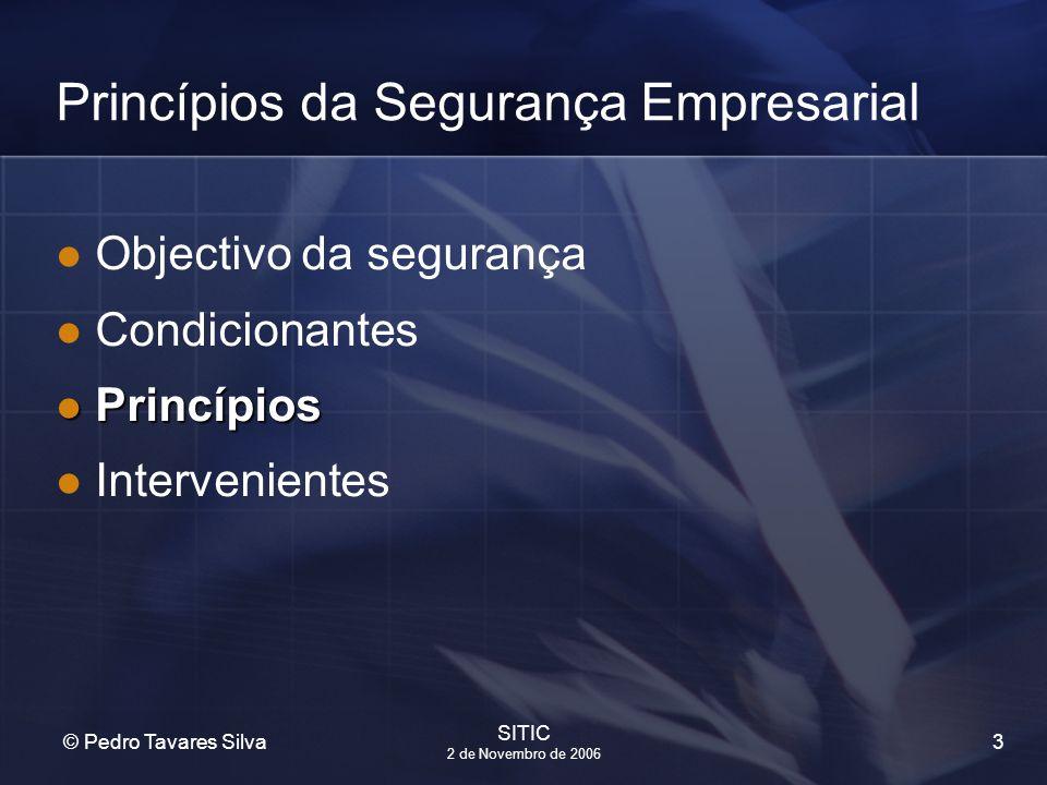 3 © Pedro Tavares Silva SITIC 2 de Novembro de 2006 Princípios da Segurança Empresarial Objectivo da segurança Condicionantes Princípios Princípios In