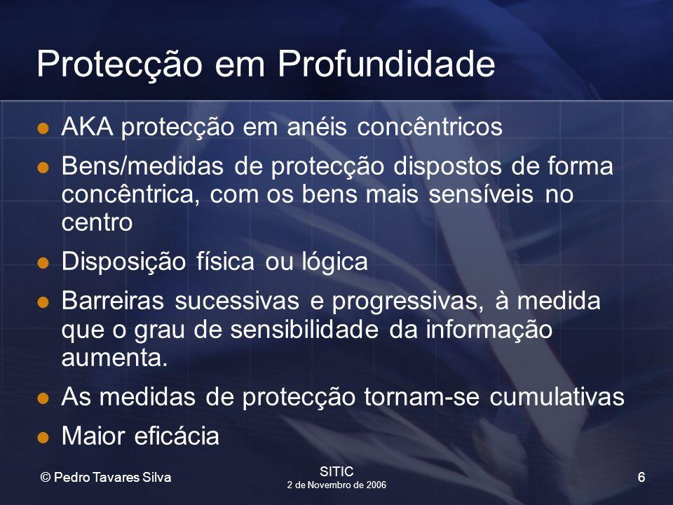 6 © Pedro Tavares Silva SITIC 2 de Novembro de 2006 Protecção em Profundidade AKA protecção em anéis concêntricos Bens/medidas de protecção dispostos