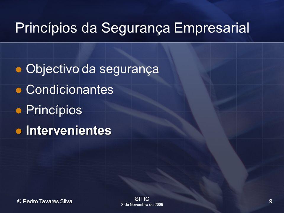9 © Pedro Tavares Silva SITIC 2 de Novembro de 2006 Princípios da Segurança Empresarial Objectivo da segurança Condicionantes Princípios Interveniente