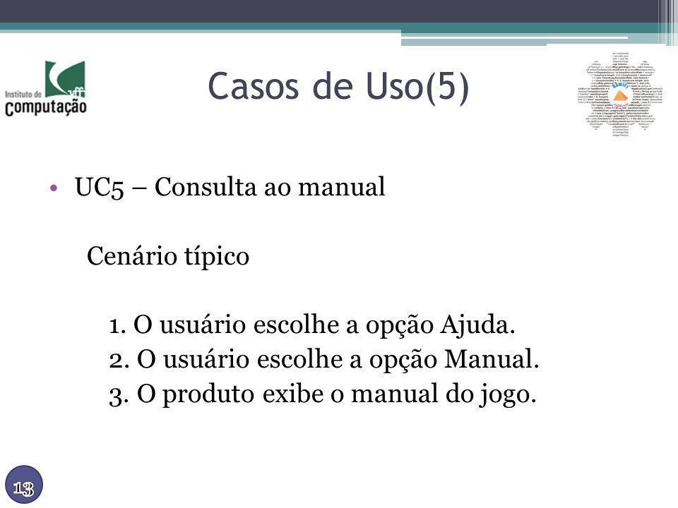 Casos de Uso(5) UC5 – Consulta ao manual Cenário típico 1. O usuário escolhe a opção Ajuda. 2. O usuário escolhe a opção Manual. 3. O produto exibe o
