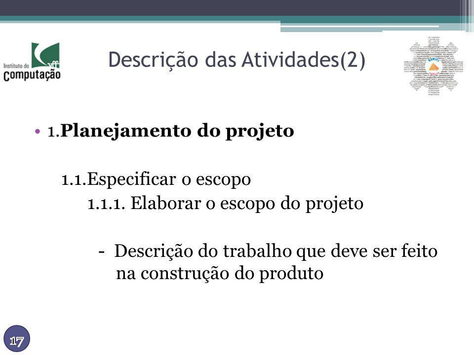 Descrição das Atividades(2) 1.Planejamento do projeto 1.1.Especificar o escopo 1.1.1. Elaborar o escopo do projeto - Descrição do trabalho que deve se