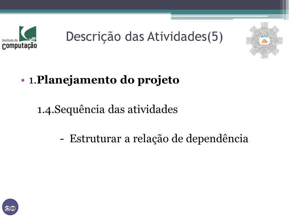 Descrição das Atividades(5) 1.Planejamento do projeto 1.4.Sequência das atividades - Estruturar a relação de dependência