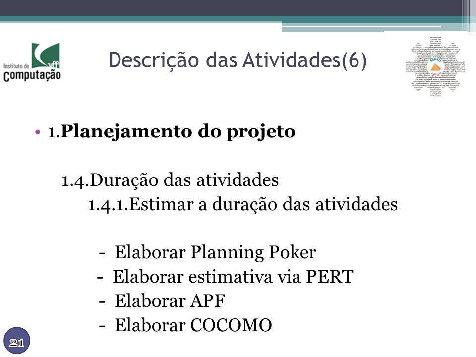 Descrição das Atividades(6) 1.Planejamento do projeto 1.4.Duração das atividades 1.4.1.Estimar a duração das atividades - Elaborar Planning Poker - El