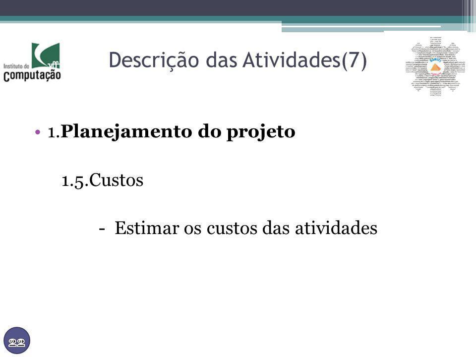 Descrição das Atividades(7) 1.Planejamento do projeto 1.5.Custos - Estimar os custos das atividades