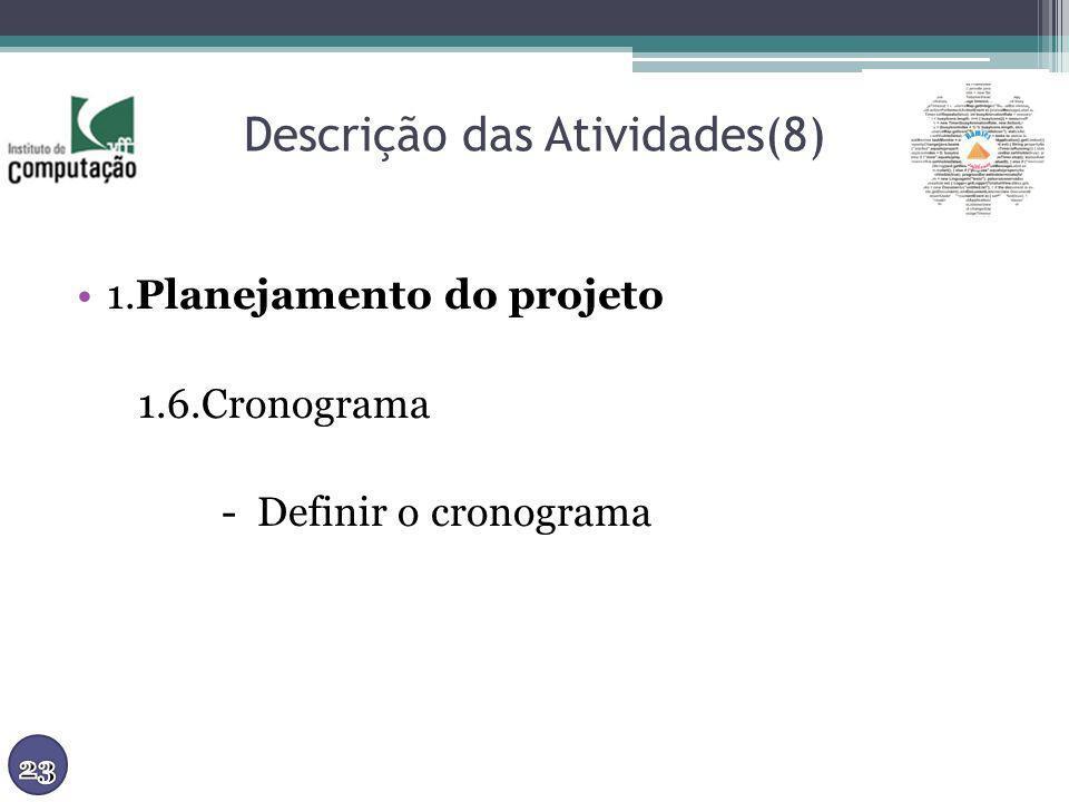 Descrição das Atividades(8) 1.Planejamento do projeto 1.6.Cronograma - Definir o cronograma