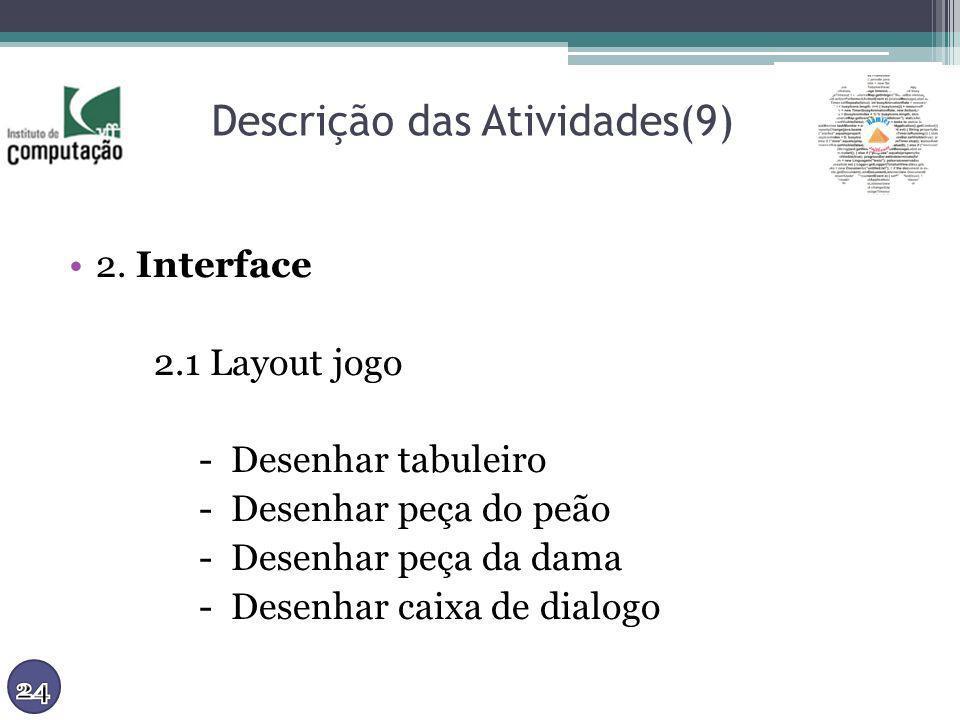 Descrição das Atividades(9) 2. Interface 2.1 Layout jogo - Desenhar tabuleiro - Desenhar peça do peão - Desenhar peça da dama - Desenhar caixa de dial