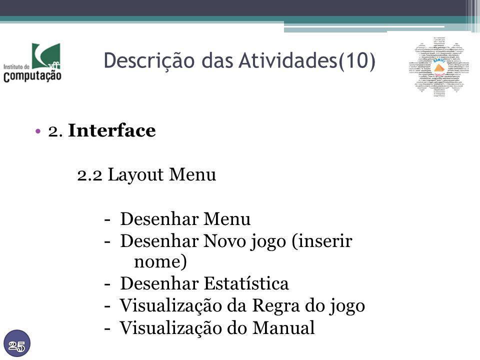 Descrição das Atividades(10) 2. Interface 2.2 Layout Menu - Desenhar Menu - Desenhar Novo jogo (inserir nome) - Desenhar Estatística - Visualização da