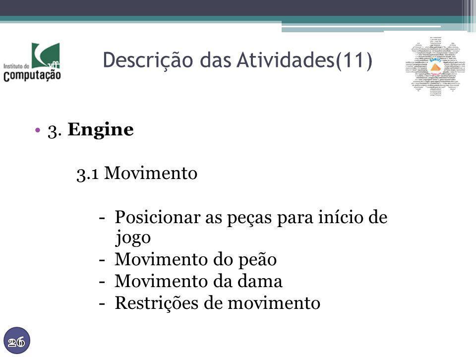 Descrição das Atividades(11) 3. Engine 3.1 Movimento - Posicionar as peças para início de jogo - Movimento do peão - Movimento da dama - Restrições de