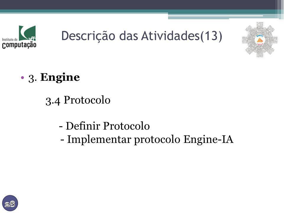 Descrição das Atividades(13) 3. Engine 3.4 Protocolo - Definir Protocolo - Implementar protocolo Engine-IA
