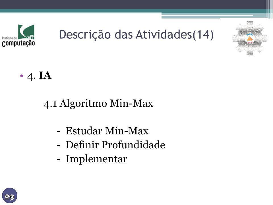 Descrição das Atividades(14) 4. IA 4.1 Algoritmo Min-Max - Estudar Min-Max - Definir Profundidade - Implementar