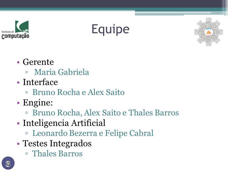 Equipe Gerente Maria Gabriela Interface Bruno Rocha e Alex Saito Engine: Bruno Rocha, Alex Saito e Thales Barros Inteligencia Artificial Leonardo Beze