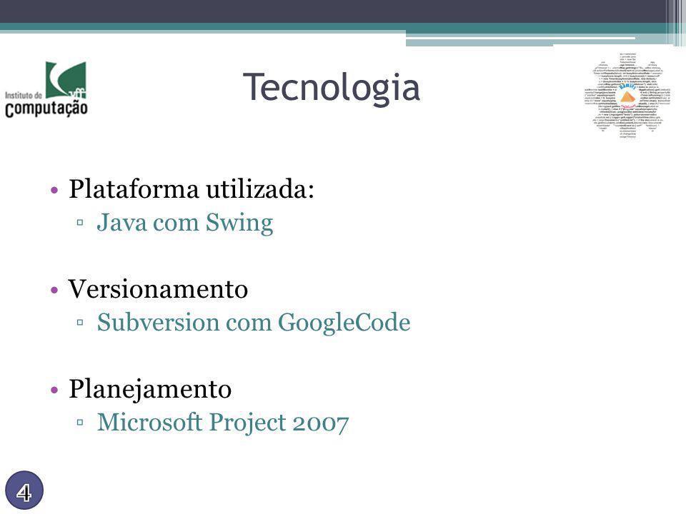 Tecnologia Plataforma utilizada: Java com Swing Versionamento Subversion com GoogleCode Planejamento Microsoft Project 2007
