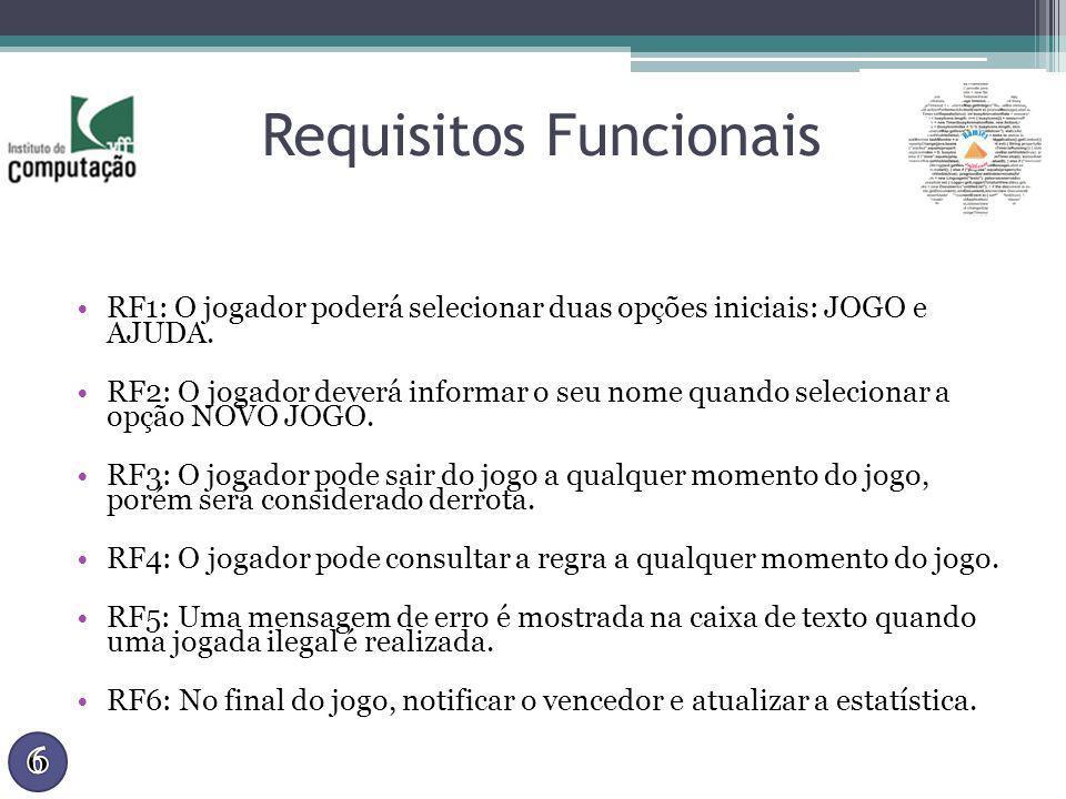 Requisitos Funcionais RF1: O jogador poderá selecionar duas opções iniciais: JOGO e AJUDA. RF2: O jogador deverá informar o seu nome quando selecionar