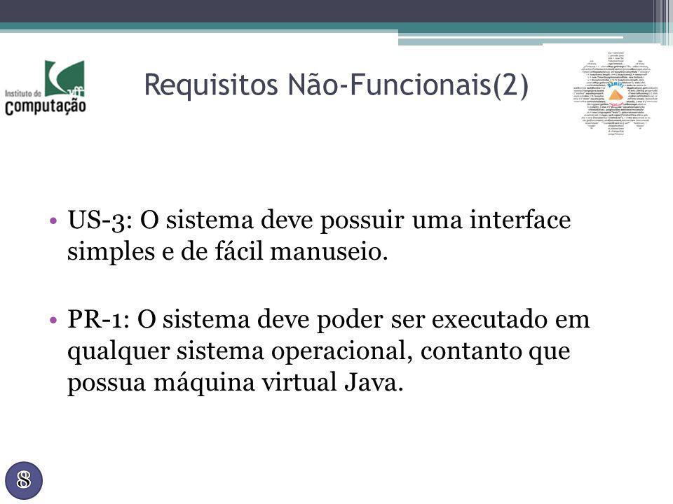 Requisitos Não-Funcionais(2) US-3: O sistema deve possuir uma interface simples e de fácil manuseio. PR-1: O sistema deve poder ser executado em qualq