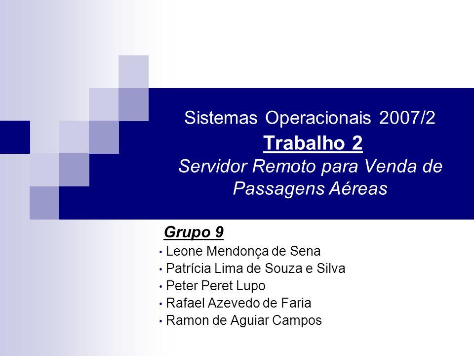 Sistemas Operacionais 2007/2 Trabalho 2 Servidor Remoto para Venda de Passagens Aéreas Grupo 9 Leone Mendonça de Sena Patrícia Lima de Souza e Silva P
