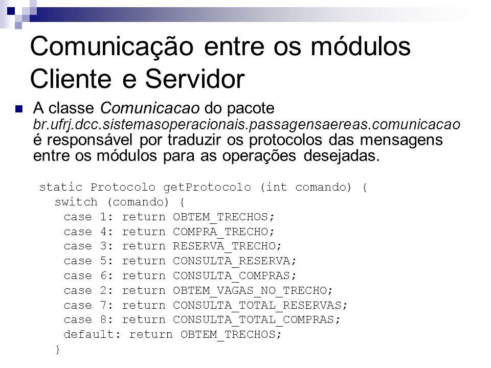 Comunicação entre os módulos Cliente e Servidor A classe Comunicacao do pacote br.ufrj.dcc.sistemasoperacionais.passagensaereas.comunicacao é responsá