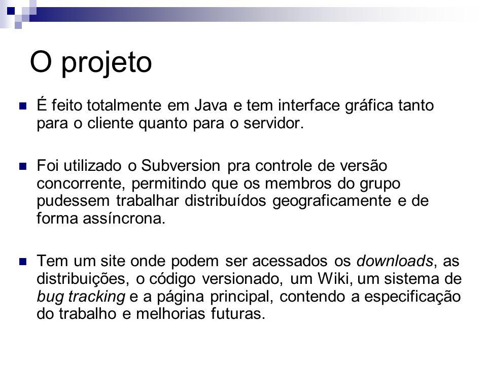 O projeto É feito totalmente em Java e tem interface gráfica tanto para o cliente quanto para o servidor. Foi utilizado o Subversion pra controle de v