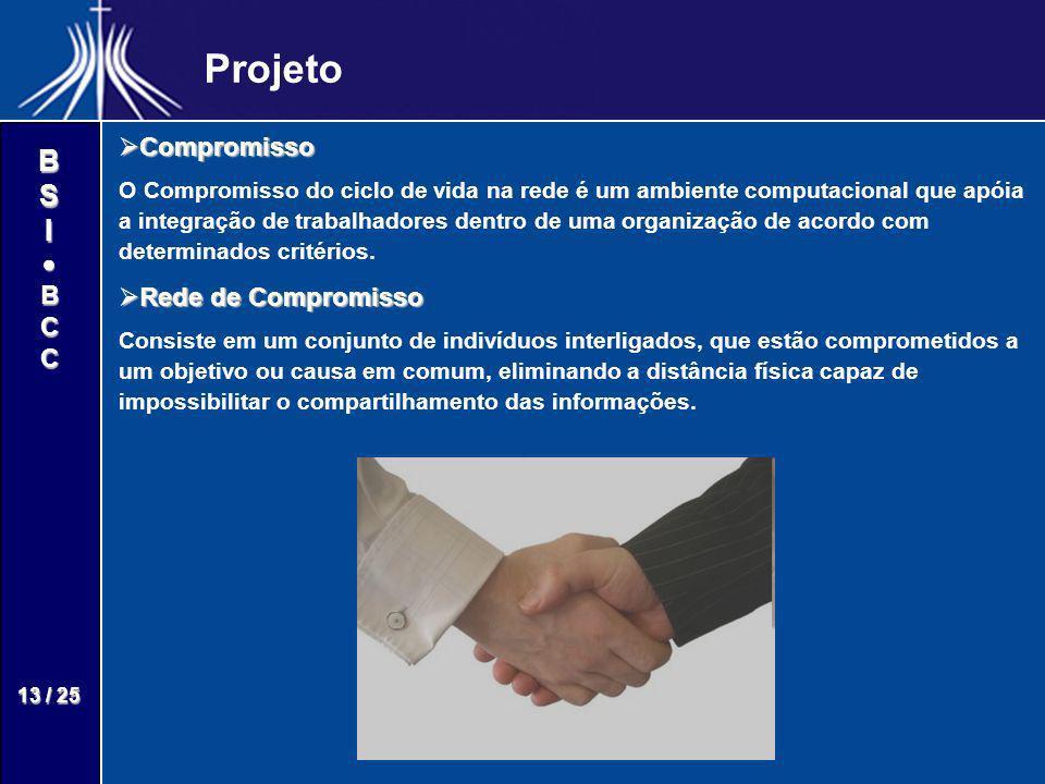 BSIBCC 13 / 25 Projeto Compromisso Compromisso O Compromisso do ciclo de vida na rede é um ambiente computacional que apóia a integração de trabalhado
