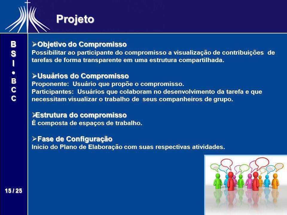BSIBCC 15 / 25 Projeto Objetivo do Compromisso Objetivo do Compromisso Possibilitar ao participante do compromisso a visualização de contribuições de