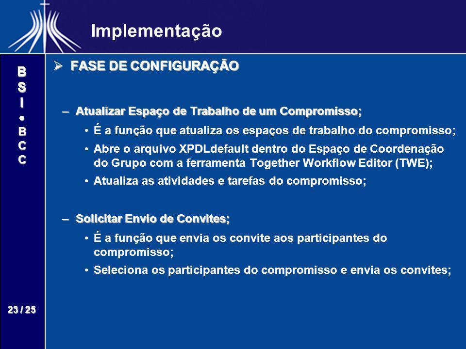 BSIBCC 23 / 25 Implementação FASE DE CONFIGURAÇÃO FASE DE CONFIGURAÇÃO –Atualizar Espaço de Trabalho de um Compromisso; É a função que atualiza os esp