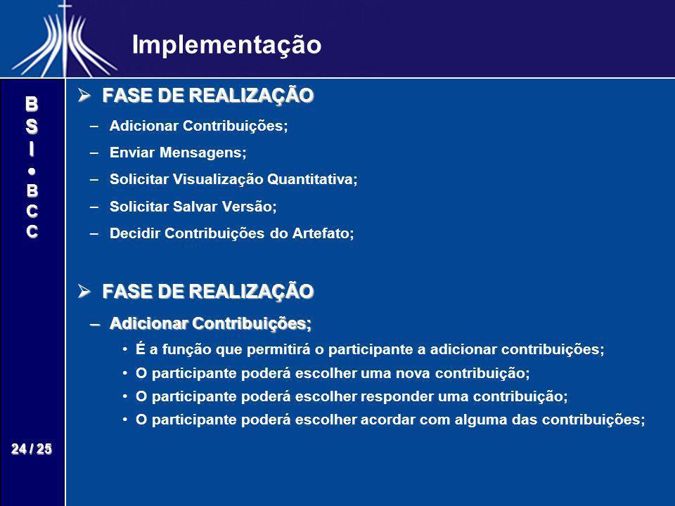 BSIBCC 24 / 25 Implementação FASE DE REALIZAÇÃO FASE DE REALIZAÇÃO – –Adicionar Contribuições; – –Enviar Mensagens; – –Solicitar Visualização Quantita