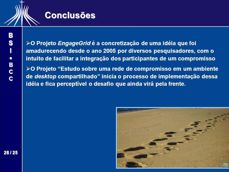 BSIBCC 28 / 25 Conclusões O Projeto EngageGrid é a concretização de uma idéia que foi amadurecendo desde o ano 2005 por diversos pesquisadores, com o