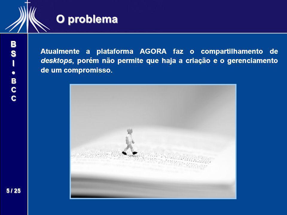 BSIBCC 5 / 25 O problema Atualmente a plataforma AGORA faz o compartilhamento de desktops, porém não permite que haja a criação e o gerenciamento de u