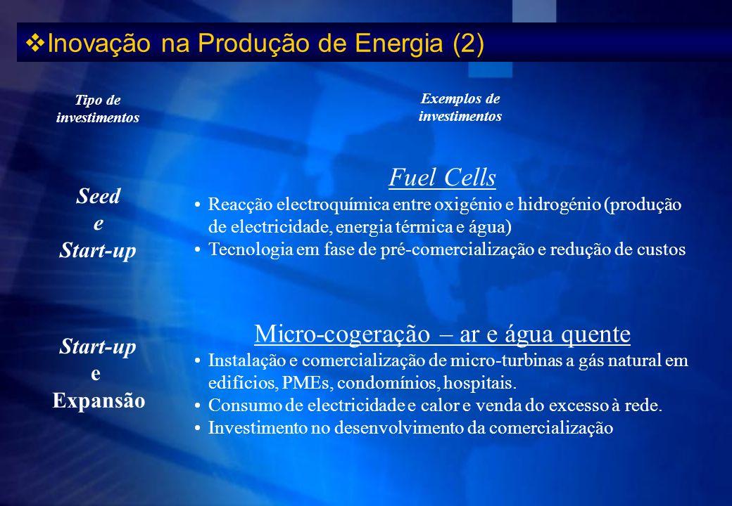 Inovação na Produção de Energia (2) Start-up e Expansão Seed e Start-up Tipo de investimentos Fuel Cells Reacção electroquímica entre oxigénio e hidro