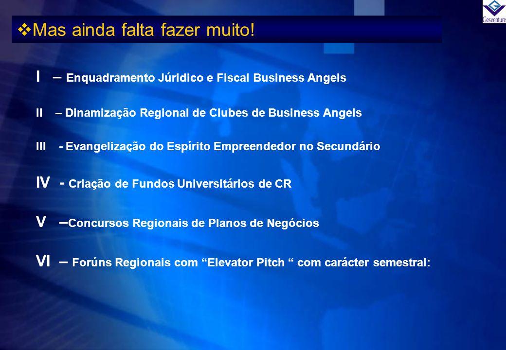 Mas ainda falta fazer muito! I – Enquadramento Júridico e Fiscal Business Angels II – Dinamização Regional de Clubes de Business Angels III - Evangeli