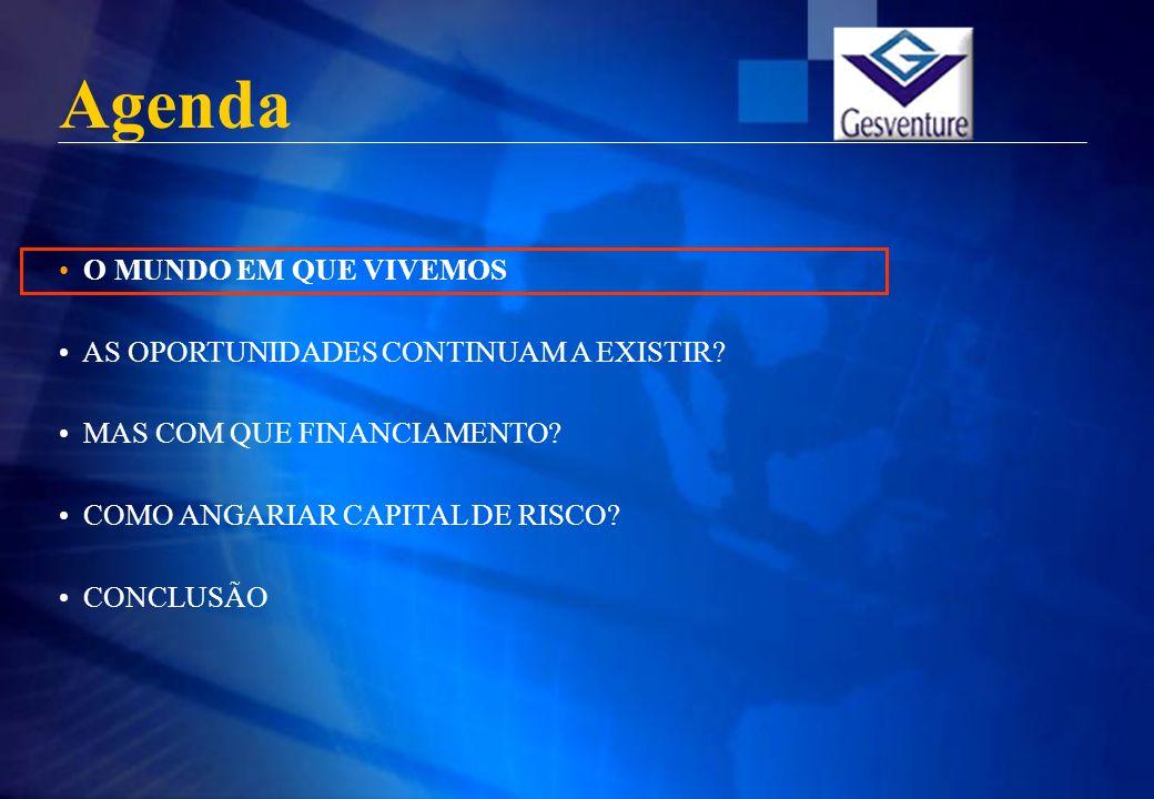 OPEX/ ALTERNEXT/ EURONEXT Private Equity Funds Ecossistema do Capital de Risco Fonte: Gesventure Montantes de Investimento Tipologia de Operadores CRIAÇÃO INCUBAÇÃO MBO/ MBI IPO CAPITAL DESENVOLVIMENTO Familly, Friends and Fools Business Angels START-UP SEED CAPITAL CAPITAL SUBSTITUIÇÃO RESCUE/ TURNAROUND Incubadoras Corporate Ventures Venture Capital Funds