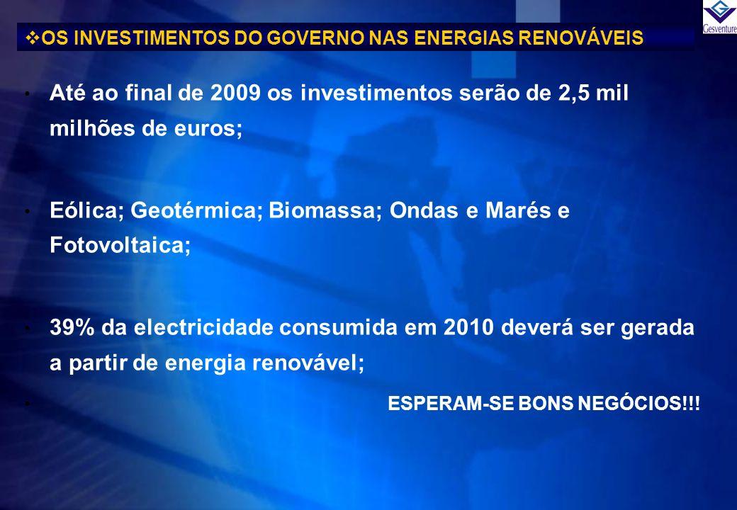 Até ao final de 2009 os investimentos serão de 2,5 mil milhões de euros; Eólica; Geotérmica; Biomassa; Ondas e Marés e Fotovoltaica; 39% da electricid