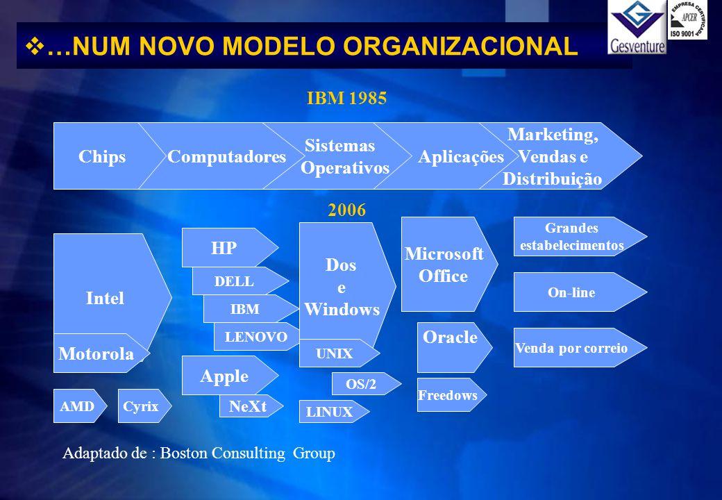 Marketing, Vendas e Distribuição Aplicações Sistemas Operativos ComputadoresChips IBM 1985 2006 Intel Motorola AMDCyrix HP LENOVO IBM DELL Apple NeXt