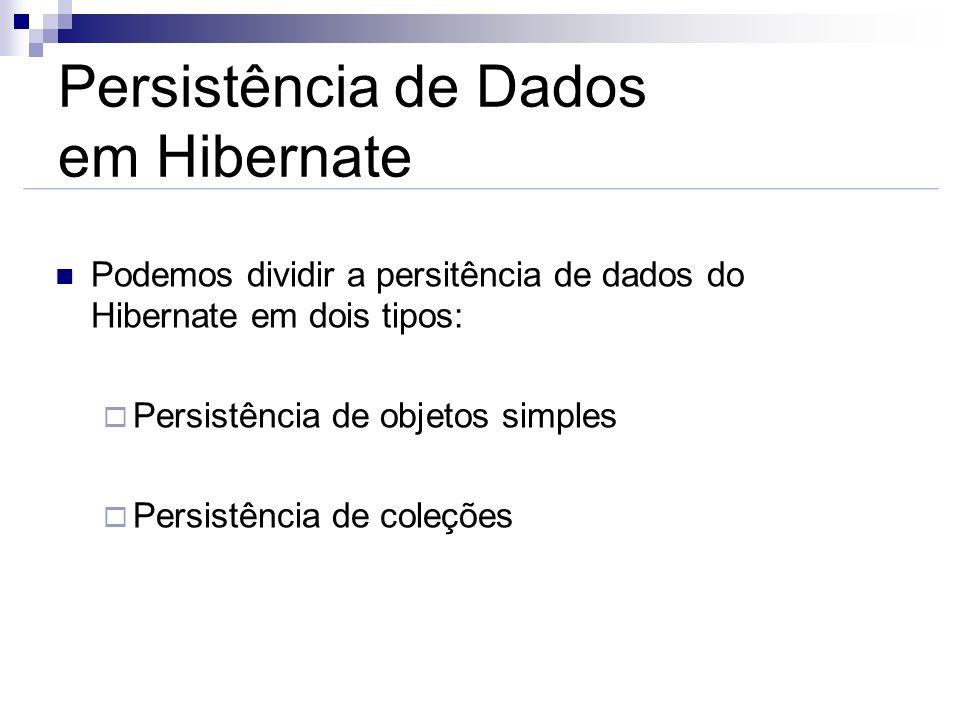 Persistência de Dados em Hibernate Podemos dividir a persitência de dados do Hibernate em dois tipos: Persistência de objetos simples Persistência de