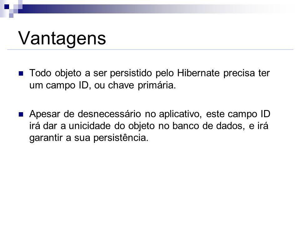 Vantagens Todo objeto a ser persistido pelo Hibernate precisa ter um campo ID, ou chave primária. Apesar de desnecessário no aplicativo, este campo ID