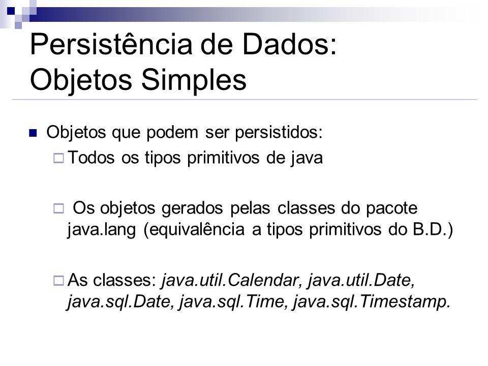 Persistência de Dados: Objetos Simples Objetos que podem ser persistidos: Todos os tipos primitivos de java Os objetos gerados pelas classes do pacote