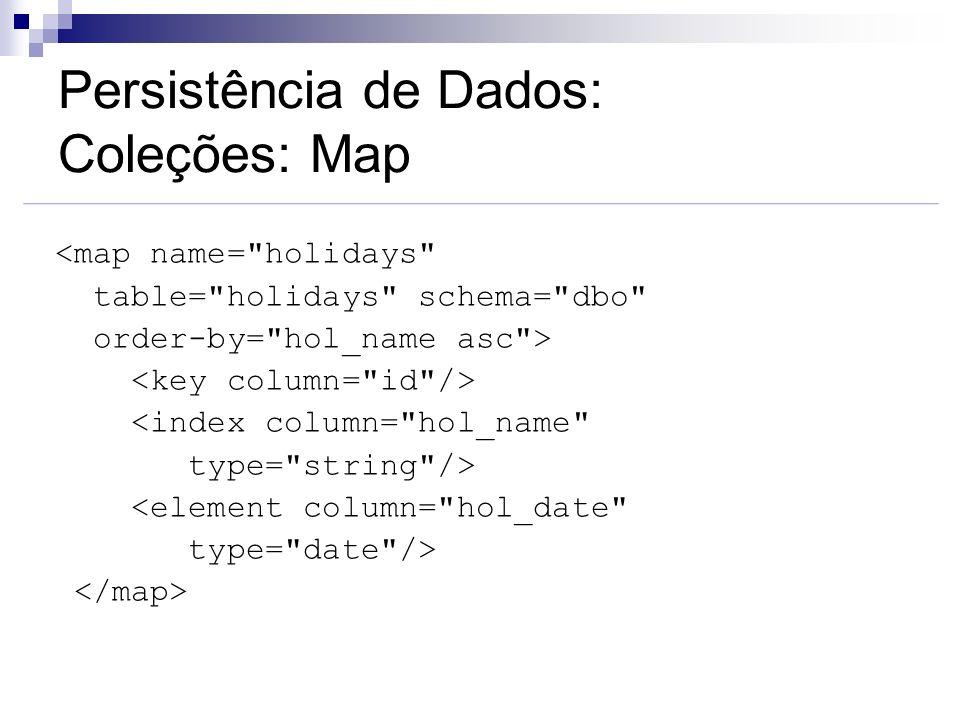Persistência de Dados: Coleções: Map <map name=