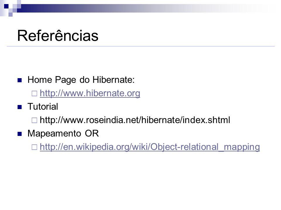 Referências Home Page do Hibernate: http://www.hibernate.org Tutorial http://www.roseindia.net/hibernate/index.shtml Mapeamento OR http://en.wikipedia