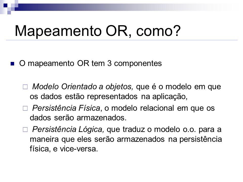 Mapeamento OR, como? O mapeamento OR tem 3 componentes Modelo Orientado a objetos, que é o modelo em que os dados estão representados na aplicação, Pe