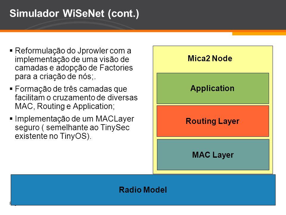 Page 11 Simulador WiSeNet (cont.) Reformulação do Jprowler com a implementação de uma visão de camadas e adopção de Factories para a criação de nós;.