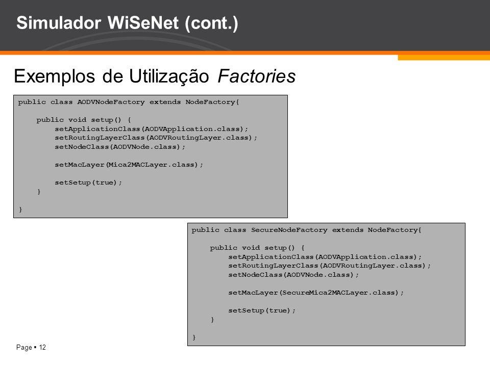 Page 12 Simulador WiSeNet (cont.) Exemplos de Utilização Factories public class AODVNodeFactory extends NodeFactory{ public void setup() { setApplicat